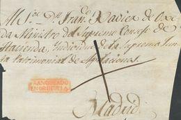Prefilatelia, Comunidad Valenciana. Sobre. (1820ca). Frente De Plica Judicial De ORIHUELA A MADRID. Marca FRANQUEADO / E - Spanien