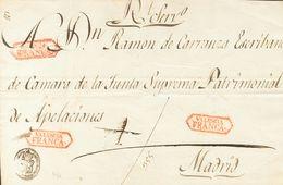 Prefilatelia, Comunidad Valenciana. Sobre. (1826ca). Frente De Plica Judicial De VALENCIA A MADRID. Marca VALENCIA / FRA - Spanien