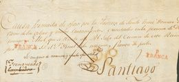 """Prefilatelia, Galicia. Sobre. (1825ca). Frente De Plica Judicial De CAMBADOS A SANTIAGO DE COMPOSTELA. Manuscrito """"Franq - Spanien"""