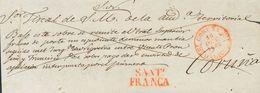 Prefilatelia, Galicia. Sobre. 1842. Frente De Plica Judicial De SANTIAGO DE COMPOSTELA A LA CORUÑA. Marca SANTº / FRANCA - Spanien