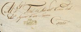 Prefilatelia, Galicia. Sobre. (1822ca). Frente De Plica Judicial De VIGO A LA CORUÑA. Marca V / FRANCA, En Azul (P.E.12) - Spanien