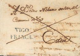 Prefilatelia, Galicia. Sobre. 1827. VIGO A CADIZ. Marca VIGO / FRANCA, En Azul (ligeramente Más Pequeña Que La Reseñada) - Spanien