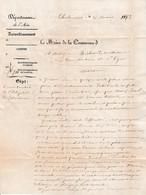 1873 CHALAMONT (01) La Commune à M. RICHARD Architecte à Lyon - RECONSTRUCTION DE L'HÔPITAL - Documentos Históricos