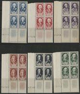 1949 N° 853 à 858 ** (MNH) Cote 120 € Vendue 10 % De La Cote En Blocs De Quatre Avec Coin Numéroté. Voir Description - France