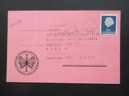 Niederlande 1973 Adressänderungs Anzeige Niederlandsche Entomologische Vereinigung Amsterdam Nach Riga - Briefe U. Dokumente