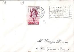 49 . MAINE ET LOIRE . ANGERS RP . OBL. TYPE FLIER . 1953   Avec Correspondance TP Et OBL. - Mechanical Postmarks (Other)