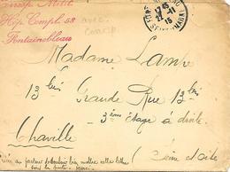 77-cachet Hôpital Comp. N°58 à Fontainebleau (Château) Sur Lettre Avec Correspondance En 1915 - Guerre De 1914-18