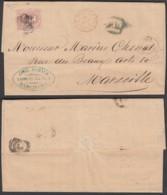 """Espagne - LAC Yv124 De Barcelona 23/01/1873 Vers Marseille- Cachet """"ESPAGNE AMB CETTE A TAB B"""" (RD231)DC5745 - 1872-73 Königreich: Amédée I."""
