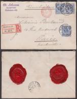 Allemagne-Lettre Yv.48x3 Dont Une Paire Bord De Feuille Interpanneaux En Recom.de Hambourg 1896 Vers Paris (RD242)DC5756 - Briefe U. Dokumente