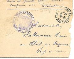77-cachet Hôpital Temp. N°9 à Fontainebleau Sur Lettre Avec Correspondance En 1916 - Guerre De 1914-18