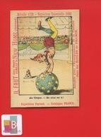 New Home Machine Coudre  France Exposition Universelle 1889 Chromo Image Devinette Clown Soeur Cirque Fratrie - Sonstige