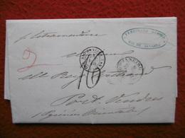 LETTRE CACHET DE LIGNE RIO DE JANEIRO VIA PORT VENDRES GRIFFE MANUSCRITE ESTRAMADURA 1866 - Marcophilie (Lettres)