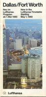 Lufthansa Dallas/Fort Worth Neu Im Flugplan Ab Mai 1980 - Faltblatt Mit 5 Abbildungen - Welt