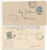 1917 /1923 SARDEGNA GESTURI 2 LETTERE CON ANNULLO FRAZIONARIO UNA CON IL 57 CASSATO - Storia Postale