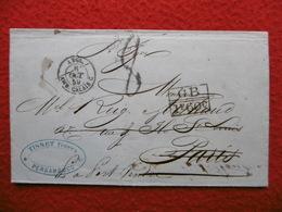 LETTRE CACHET DE LIGNE ANGL AMB CALAIS RIO DE JANEIRO VIA PARIS PUIS P PORT VENDRES EN MANUSCRIT 1859 - Postmark Collection (Covers)
