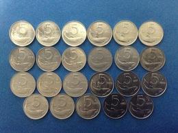 ITALIA LOTTO 23 MONETE FDC COINS UNC 5 LIRE DELFINO 71 72 74 75 76 77 79 80 81 82 83 85 86 87 88 89 91 93 94 95 96 97 98 - 5 Lire