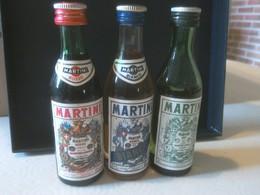 Lot De 3 Mignonettes Apéritif Martini Non Ouvertes Anciennes - Miniaturflaschen