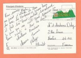 TIMBRE DISTRIBUTEUR ANDORRE ESPAGNOL SUR CARTE POSTALE - Lettres & Documents