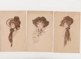 3 Cpa Dessinées ( Signature Illisibible ) / Portrait De Jeune Femme Au Chapeau - Vrouwen