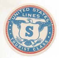 DP200/ Alter Kofferaufkleber United States Lines  Tourist Class Ca. 1935 - Passagiersschepen