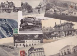 Lot 2294 De 10 CPA Gares Chemin De Fer Train Divers Déstockage Pour Revendeurs Ou Collectionneurs - Postcards