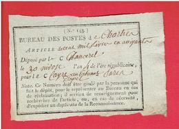POSTE DE CHARTRES 1796 ENVOI DE CENT MILLE LIVRES EN ASSIGNATS PAR CHANCEREL POUR CAYRE AU TRIBUNAL D APPEL DE PARIS - Documents Historiques
