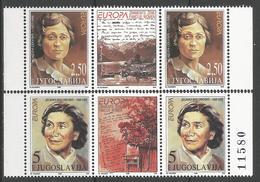 YU 1996-2777-8 EUROPA CEPT, YUGOSLAVIA, 1 X 2v + Labels, MNH - Berühmt Frauen