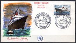 """FDC FRANCE 1962 - N° 1325 - 3 Février 1962 - Voyage Inaugural Du Paquebot """"France"""" - 1960-1969"""