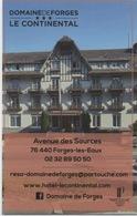 Carte (de Visite) : Domaine De Forges (les Eaux) CP 76440 : Hôtel Le Continental Partouche - Cartes De Casino