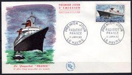"FDC FRANCE 1962 - N° 1325 - 11 Janvier 1962 - Le Paquebot ""France"" - 1960-1969"