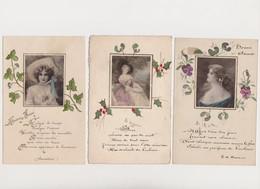 3 Cpa De Bonne Année Avec Portrait De Jeune Femme  , Poésie (Lamartine, E.de Massirac ) Et Fleurs Peintes à La Main - Vrouwen