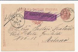 1892 AMENO NOVARA CERCHIO GRANDE SU CP CON TARGHETTA ESPRESSO VIOLA MOD 24 CASSATA - Storia Postale