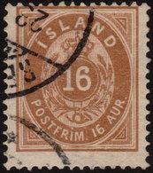 ~~~ Iceland 1876 - Coat Of Arms - 16 Aur - Perf 14x13½  - Mi. 9 A (o) - CV 45.00 Euro ~~~ - Oblitérés