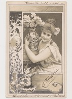 Cpa Fantaisie / Jeune Femme, Vase  , Fleurs Et Paon - Donne