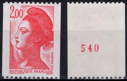 FRANCE Poste 2277a ** MNH Liberté De GANDON Avec N° Rouge Au Dos (CV 2,30 €) - Roulettes