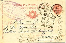 1898 PORTO TOLLE (SECCA SETTE) VENETO ROVIGO CERCHIO GRANDE + NEGOZIANTE COLONIALI VINI LIQUORI - 1861-78 Vittorio Emanuele II