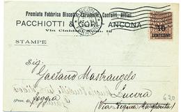1924 ANCONA CARTOLINA PUBBLICITARIA PACCHIOTTI E GORI FABBRICA BISCOTTI E CARAMELLE - 1900-44 Vittorio Emanuele III