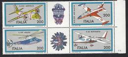 Italia 1981; Costruzioni Aeronautiche, 1° Serie; Serie Completa In Blocco Con Appendici: Bordo Destro. - 6. 1946-.. Repubblica
