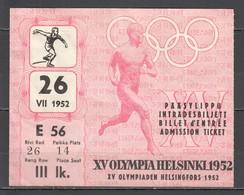 VV927 OLYMPIC GAMES HELSINKI 1952 TICKET 26.07 - Tickets - Vouchers