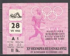 VV928 OLYMPIC GAMES HELSINKI 1952 TICKET 28.07 - Tickets - Entradas