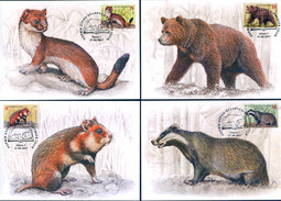 TH_ Belarus 2017 Mammals Red Book Fauna 4 MaxiCards MC - Sellos