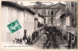 X81160 Peu Commun SOREZE Tarn Rue PUY-VERT Défilé Militaire 1910s Edition CAU 403 Village De La Montagne Noire - Andere Gemeenten