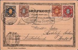 ! 1904, Postkarte Aus Helsingborg Nach Rochlitz, Vierfarbenfrankatur, Schweden, Sverige, Sweden, Suede - Suède