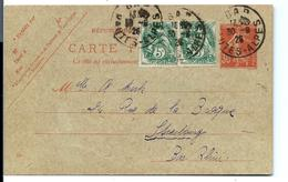 ENTIER 30 C SEMEUSE Avec Complément BLANC - 1926 - Postales Tipos Y (antes De 1995)