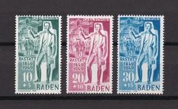 Franz. Zone - Baden - 1949 - Michel Nr. 50/52 - Postfrisch - 40 Euro - Französische Zone