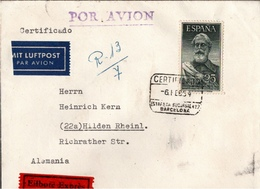 ! 1954 Eilboten Expres Brief Aus Spanien Barcelona Nach Hilden - 1951-60 Lettres