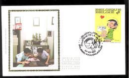 FDC Sur Soie/op Zijde -  B.D. - Gaston Lagaffe - Timbre N°2484 -  FDC 1992 - Oblitération Brussel/Bruxelles - FDC