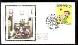 FDC Sur Soie/op Zijde -  B.D. - Gaston Lagaffe - Timbre N°2484 -  FDC 1992 - Oblitération Liège - FDC