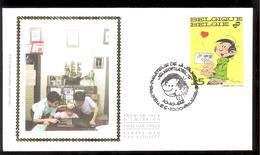 FDC Sur Soie/op Zijde -  B.D. - Gaston Lagaffe - Timbre N°2484 -  FDC 1992 - Oblitération Bruxelles/Brussel - FDC