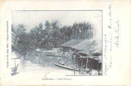 COCHINCHINE VIETNAM Barques Et Maisons Dur Un Arroyo En Cochinchine Carte Précurseur - Viêt-Nam
